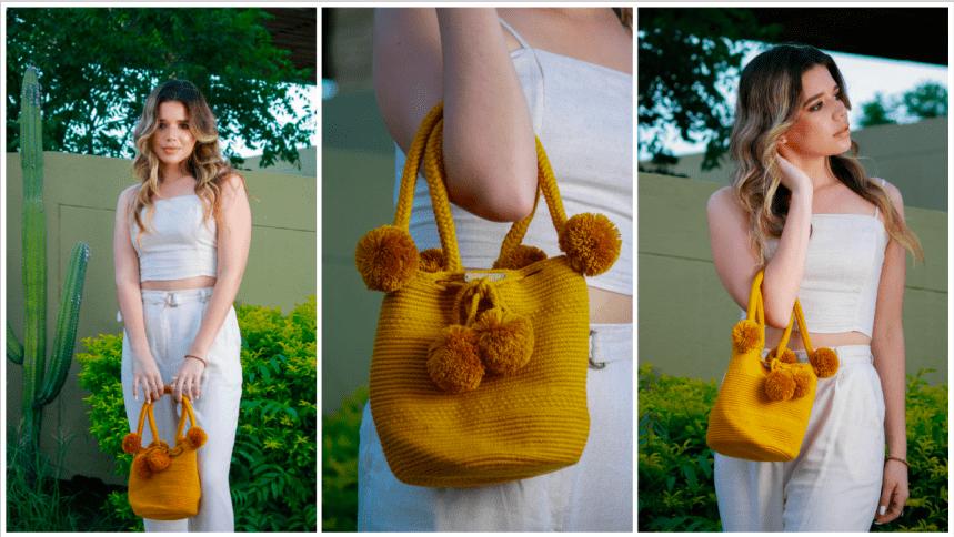 Ekiitaya Wayuu bags_model with a mini bag