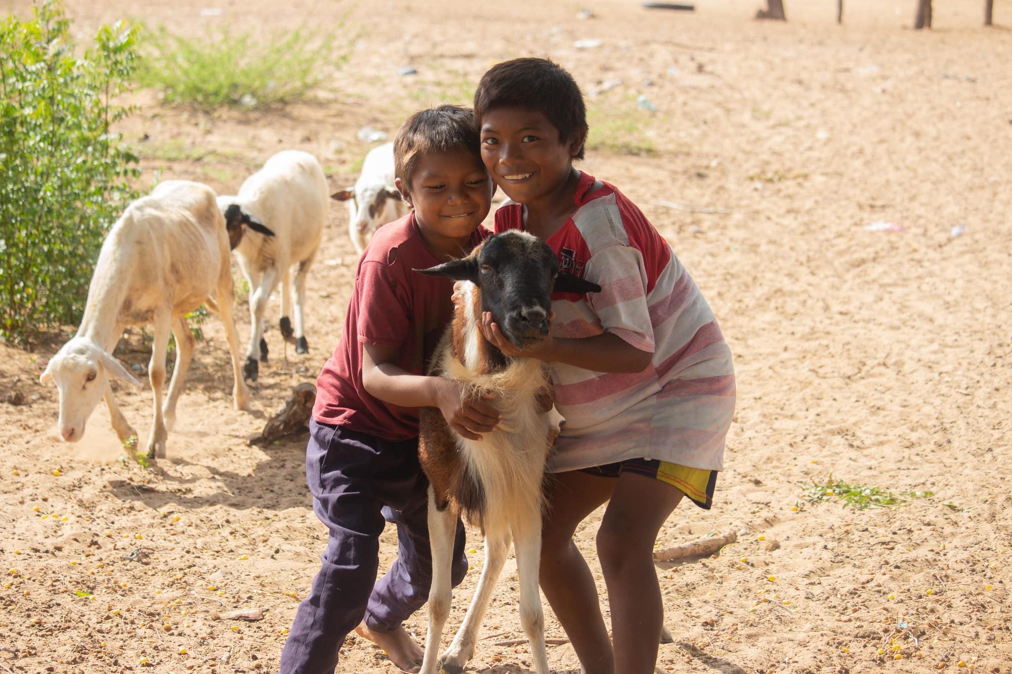 Niños Wayúu con un chivo en una Ranchería en La Guajira